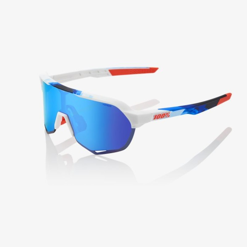 100+procent+S2+fietsbrillen+Gloss+Matte+White+Geo_Print+HiPER+Blue